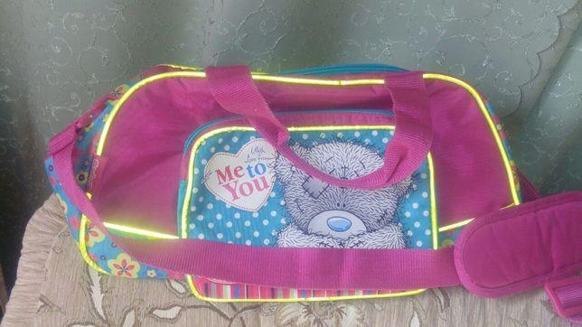 Красивейшая дорожная сумка для девочки с отражателями и Мишкой Тедди