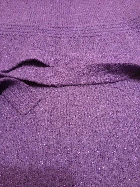 Sweter golf krótki rękaw fiolet z brokatem