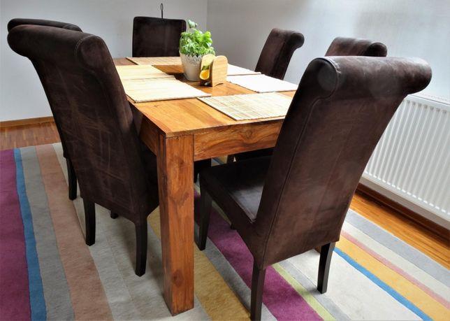 Drewniany stół + 6 krzeseł z naturalnej skóry (zamsz) - AlmiDecor