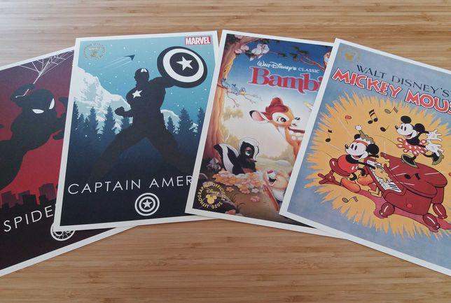 LITOGRAFIAS: Mickey, Bambi, Spider-Man, Capitão America - NOVO