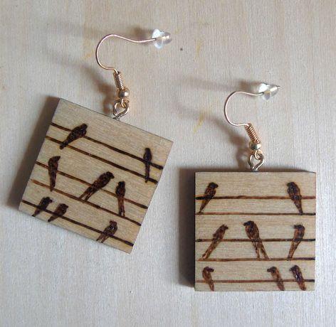 kolczyki drewniane - pirografia - handmade