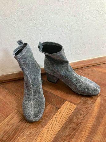 buty na imprezę Forever21 39 brokat srebrne