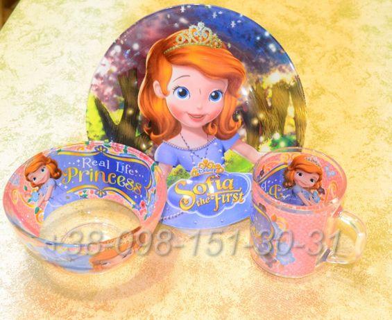 Набор детской посуды 3 в 1 - Эльза, Фрозен, принцесса София, Фея