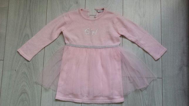 Różowa sukienka z tiulem rozmiar 92