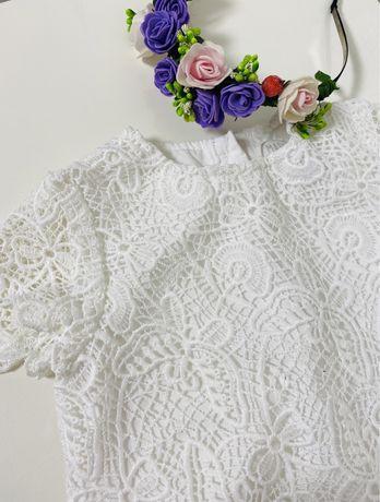 Біле  кружевне плаття 12-18м.