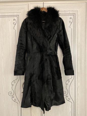 Пальто из меха пони с воротником (демисезонное)