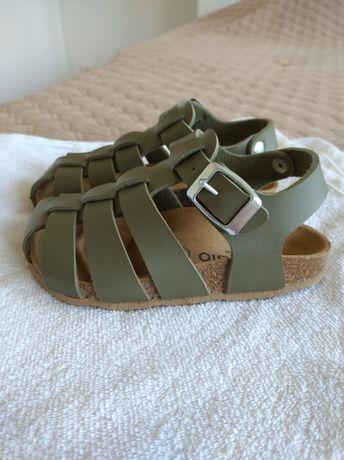 Sandały sandałki khaki eko skóra 25. Jak nowe. TK MAXX