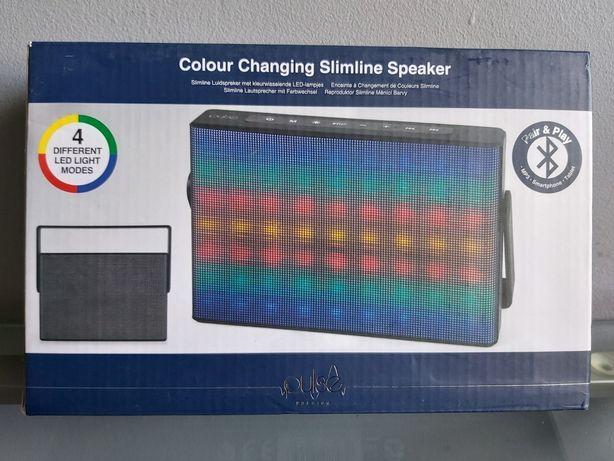 Nowy głośnik bezprzewodowy, bluetooth, kolorowe światełka LED.