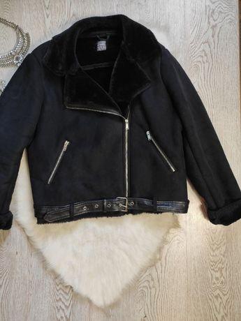 черная женская искусственная дубленка авиатор куртка короткая с мехом