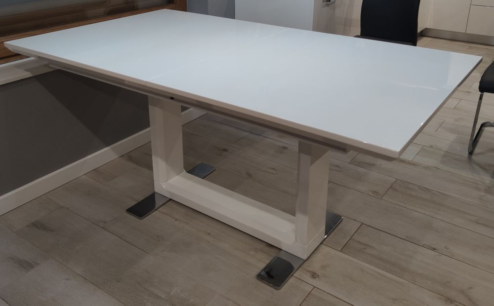 Stół rozkładany 160-220 biały, wysoki połysk Landek - image 1