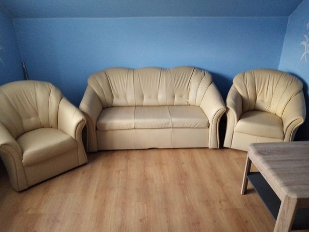 Sofa skórzana +krzesła +stolik