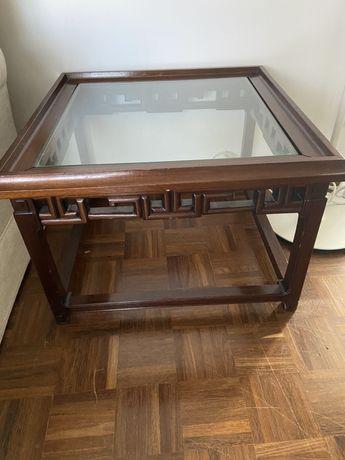 Mesa de Apoio madeira de castanho c/ tampo de vidro