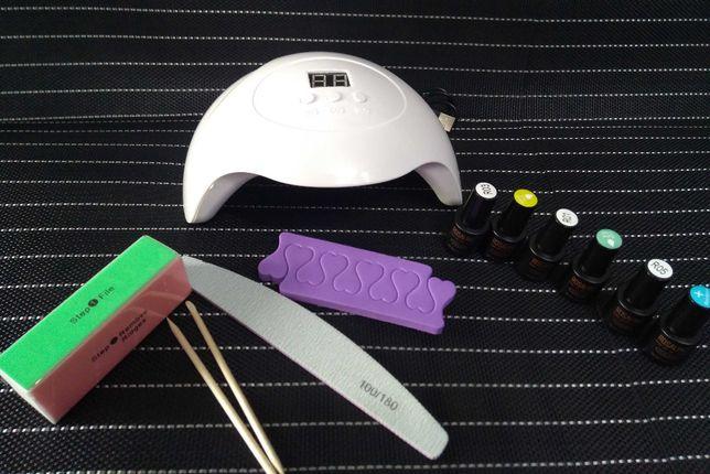Лампа для маникюра, ногтей, шеллака,Sun 5mini,набор, лаки