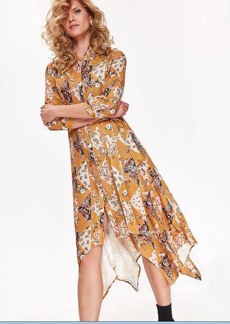 TS Top Secret Musztardowa Sukienka we Wzory 36 S