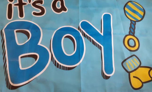 Флаг,баннер,плакат ткань на рождение ребёнка 1.5×0.9