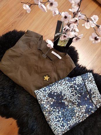 Cudny zestaw:) krótki TOP khaki ZARA spódniczka w kwiatuszki ORSAY XS