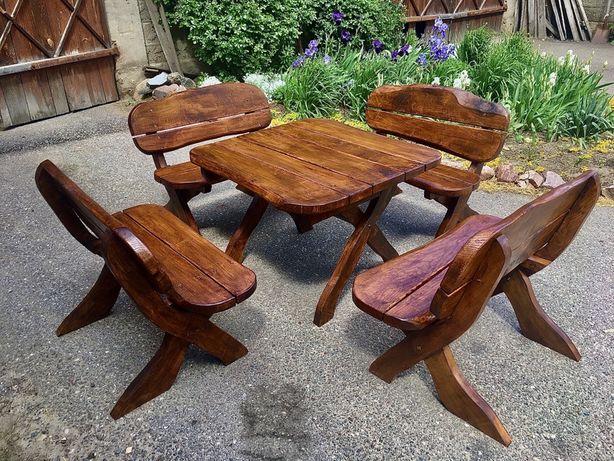 Meble ogrodowe jesionowe, drewniane, komplet, zestaw, stół 4 ławki