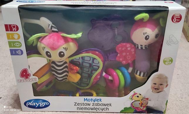 Zestaw zabawek niemowlęcych gryzak grzechotka Piszczek