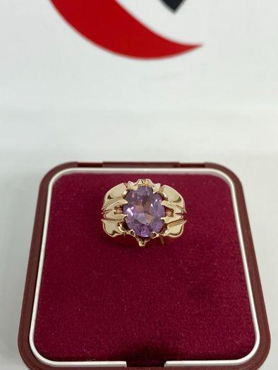 Złoty pierścionek 14k z ametystem
