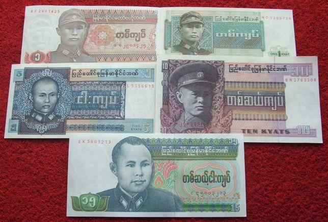 BIRMA Kolekcjonerskie Banknoty Zestaw - 5 sztuk UNC
