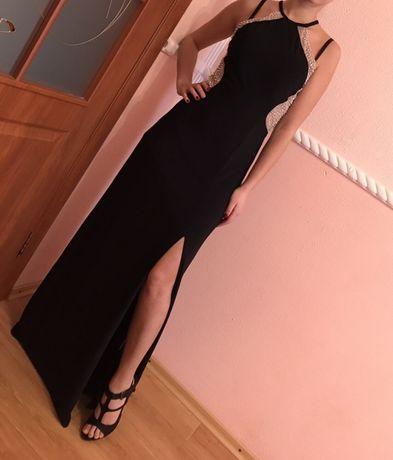 Шикарное платье в пол новое S,M со стразами zara