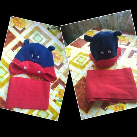 Зимний комплект, шапка и шарф, набор 1,5-2,5 года.