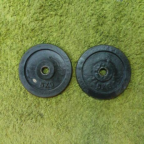 Obciążenia krążki żeliwne 2x 5kg 10 kg