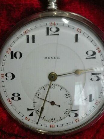 Zegarek Srebrny REVUE Szwajcarski Kieszonkowy