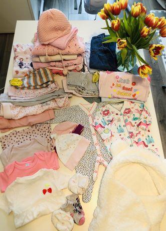 Ubranka 56-68. Paczka ubranek dla dziewczynki, 0-3 miesiące