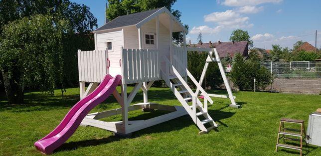 (sz)Domek dla dzieci z drewna solidny plac zabaw zjeżdżalnia ślizg