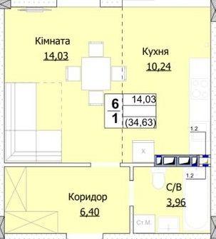 """1к квартира від забудовника ГК """"Доброград"""""""
