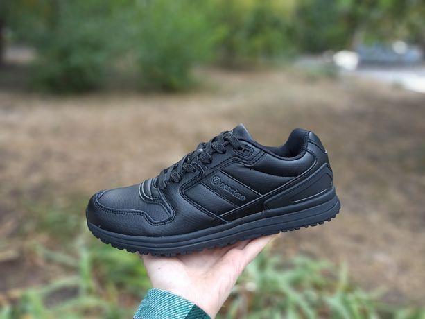 Кроссовки черные кожанные, мужские черные кроссовки Restime