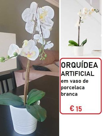 Vaso branco de porcelana com orquídea artificial IKEA