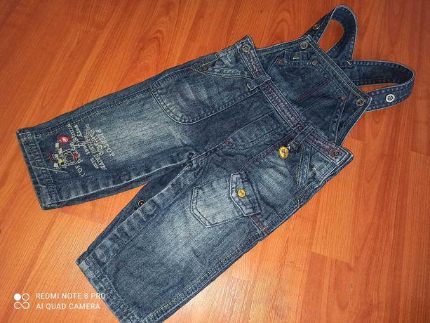 Комбинезон джинсовый кнопки под памперс/комбез джинс полукомбинезон