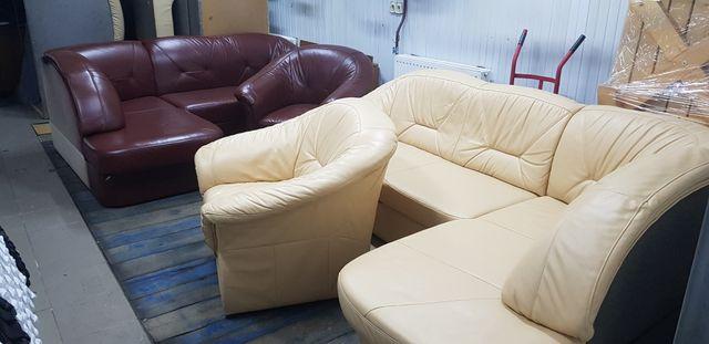 Narożnik skórzany sofa kanapa rogówka skóra jak nowy funkcja spania