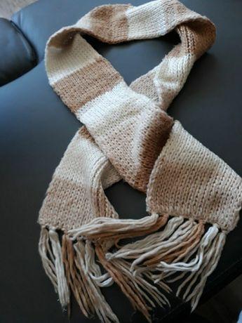 Długi szal, szalik wełniany biały/beżowy/brązowy