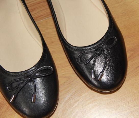 OCHNIK skóra OWCZA czarne balerinki 39 skorzane na niskim czółenka