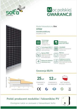 5,18 kW POLSKI PANEL SELFA 370 kWp Fotowoltaika zestaw 4,5,6,7,8,9,10
