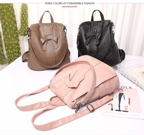 Рюкзак женский кожаный розовая пудра, новинка! 3 цвета.