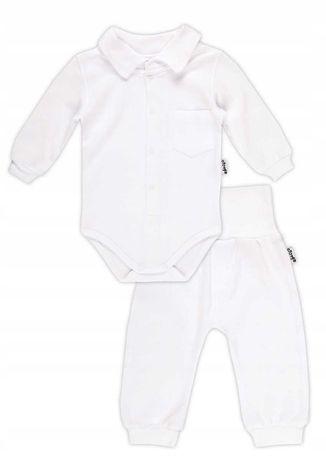 Białe body koszulowe i spodenki komplet na chrzest r. 74 Bamar Nicol