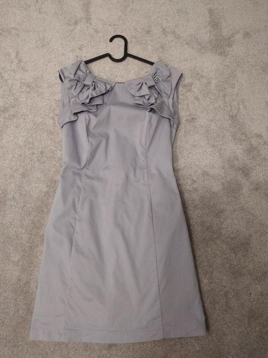 Szara stalowa sukienka 36 elegancka wizytowa srebrna z kokardą Ełk - image 1