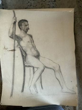 Henri (Henryk) Hayden akty męskie rysunek 2 szt. Ołówkiem