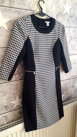 Czarna elegancka sukienka zamki wizytowa H&M wyszczuplająca pepitka