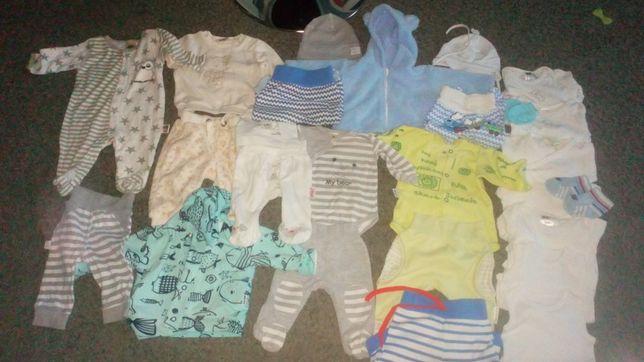 Paka ubrań dla chłopca 50/56/62, dres, bluzy, body, półśpiochy, itd
