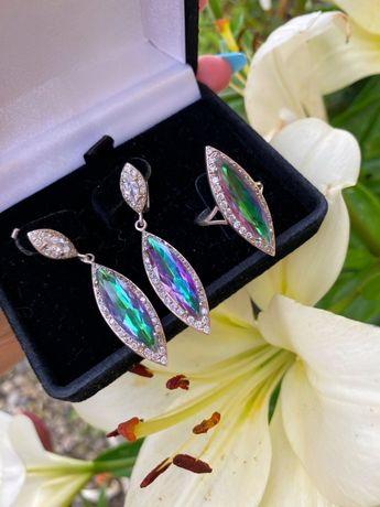 Кольцо серьги женский набор серебро