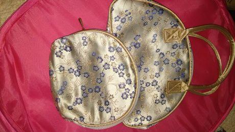 для девочки детская небольшая сумочка сумка и косметичка бежевые