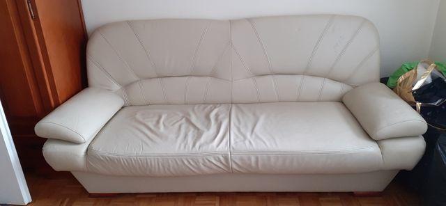 sofa rozkładana z naturalnej skory