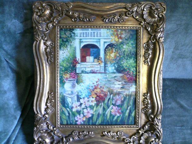 Kwiaty ogród oryginał obraz olejny sygnowany bogato zdobiona rama star