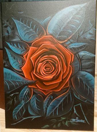 Obraz ręcznie malowany. Róża-akryl. 50x70cm. płótno.