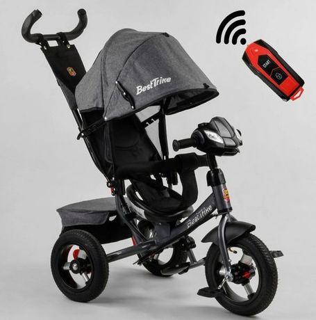 Детский трёхколёсный велосипед коляска Серый, Надувные колёса Фара USB